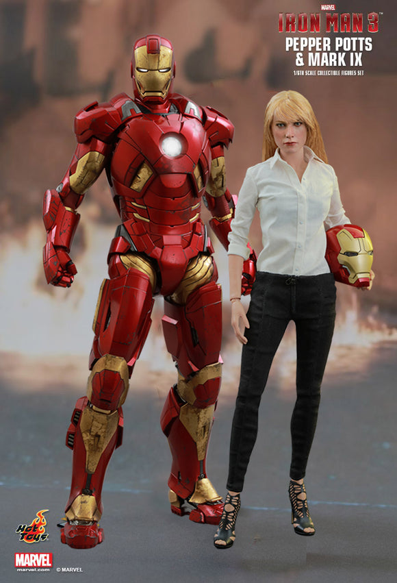 HOT TOYS IRON MAN 3 - PEPPER POTTS & IRON MAN IX 12 IN FIGURE