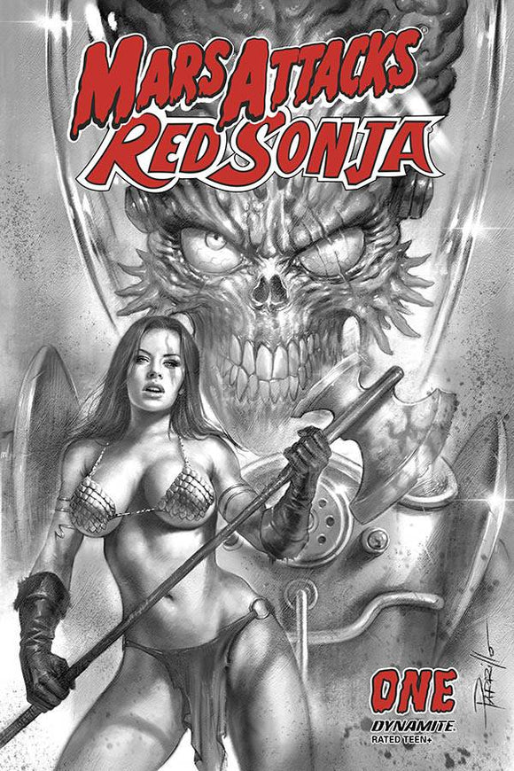MARS ATTACKS RED SONJA #1 20 COPY PARRILLO B&W INCV