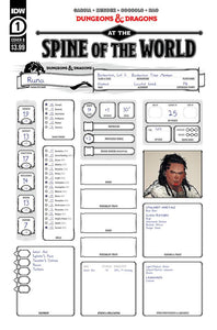 DUNGEONS & DRAGONS AT SPINE OF WORLD #1 (OF 4) CVR B CHARACTER SHEET