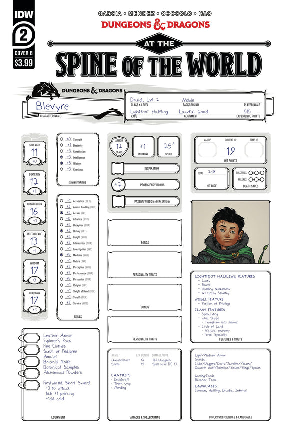 DUNGEONS & DRAGONS AT SPINE OF WORLD #2 (OF 4) CVR B CHARACTER SHEET