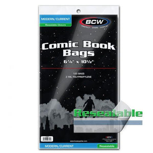 BCW COMIC BAGS -CURRENT SIZE RESEALABLE (PACK OF 100)