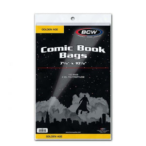 BCW COMIC BAGS -GOLDEN AGE SIZE (PACK OF 100)