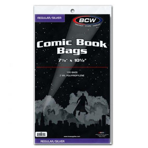 BCW COMIC BAGS -SILVER AGE SIZE (PACK OF 100)