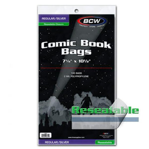BCW COMIC BAGS -SILVER AGE SIZE RESEALABLE (PACK OF 100)