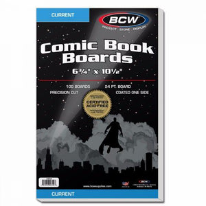 BCW COMIC BACKING BOARDS – CURRENT SIZE (PACK OF 100)