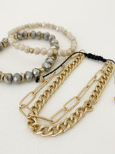 Load image into Gallery viewer, bracelet set with beads/chains