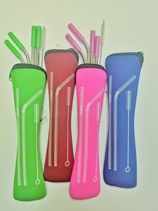 straw set-stainless steel in pouch