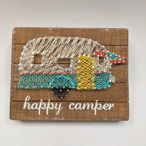 happy camper string art sign