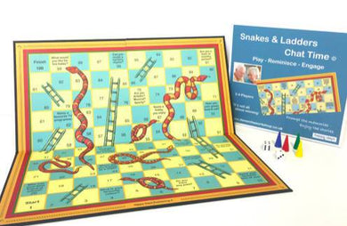 Snakes & Ladders Chat Time - Conversation Prompt Game - Care Home Shopping