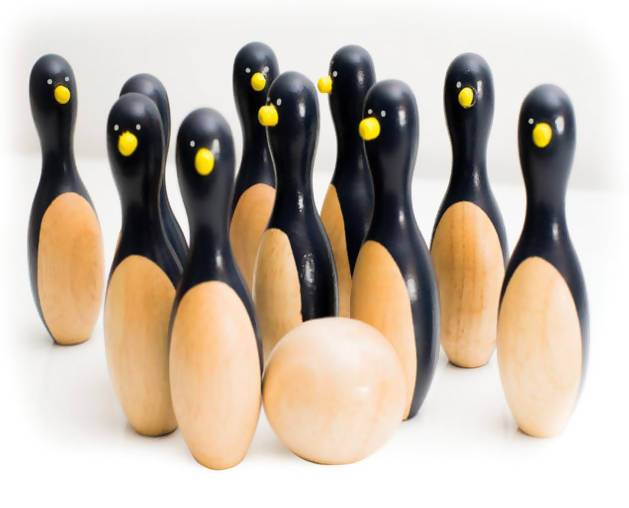 Wooden Penguin Skittles Game