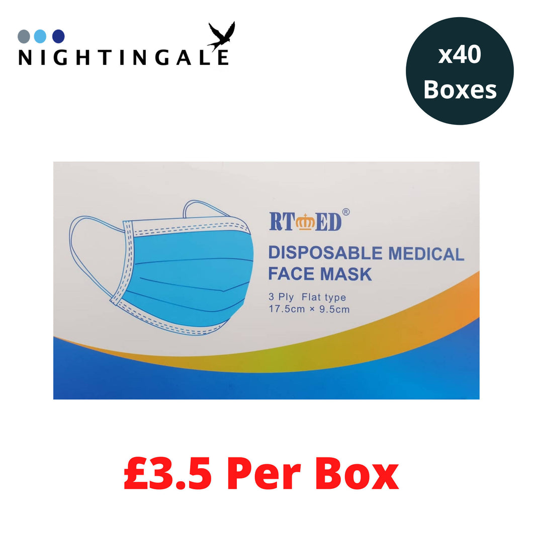 Type IIR - 40 Boxes / 2,000 Masks (£3.5 Per Box) - Next Day - RT Brand