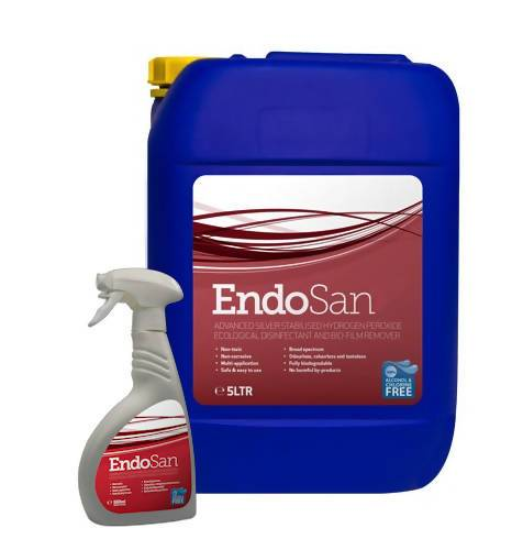 EndoSan3 Surface Sanitiser Combo Deal - Box of 15 x 500ml Trigger Spray along with a 5-litre refill pack - 3% Silver Stabilised Hydrogen Peroxide - Care Home Shopping