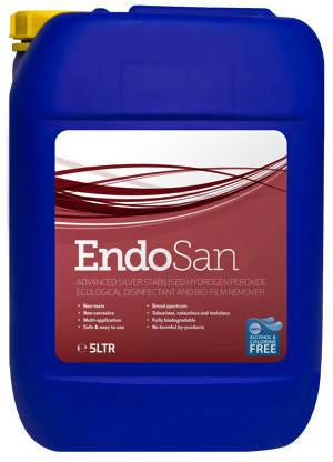 EndoSan1 Hand Sanitiser (alcohol-free) - 5 Litre - 1% Silver Stabilised Hydrogen Peroxide - Care Home Shopping