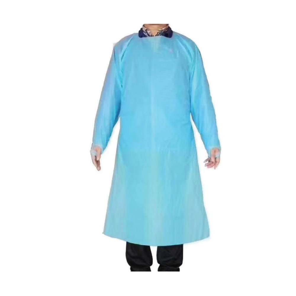 Disposable Long Sleeve Blue PE Gowns - pack of 10