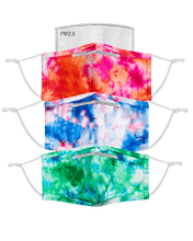 Tie Dye 3 Pack Of Ultra Premium Anti-Microbial, Moisture Wicking & Adjustable Ear Loop Face Mask