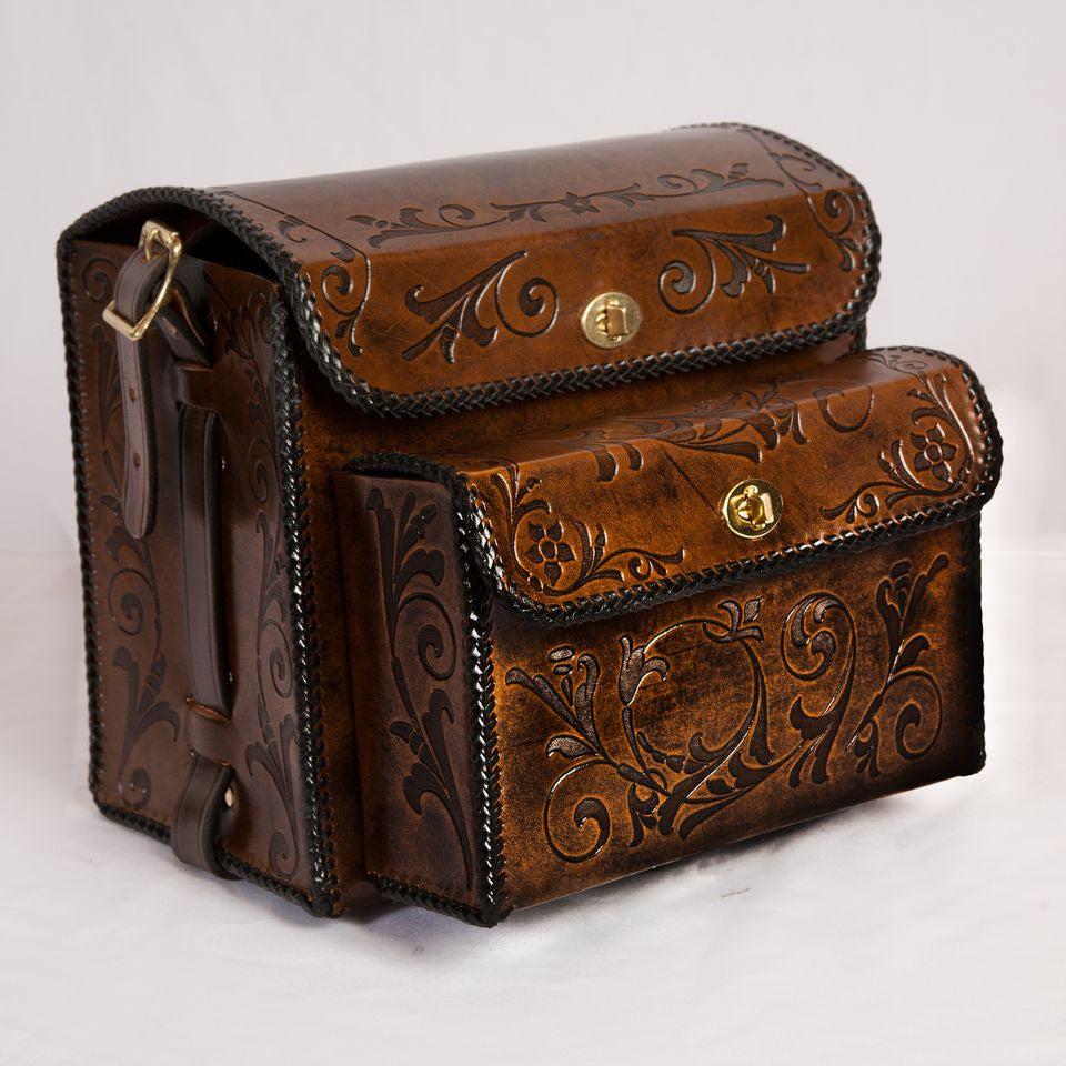 Large Shell Bag, Large Front Pouch - Scroll - Shamrock Leathers