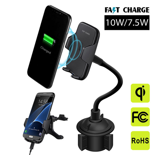Ratchet Mobile Universal Wireless Qi Fast Charging Gooseneck Phone Mount For Cup Holders and AC Vent - ratchetmobile