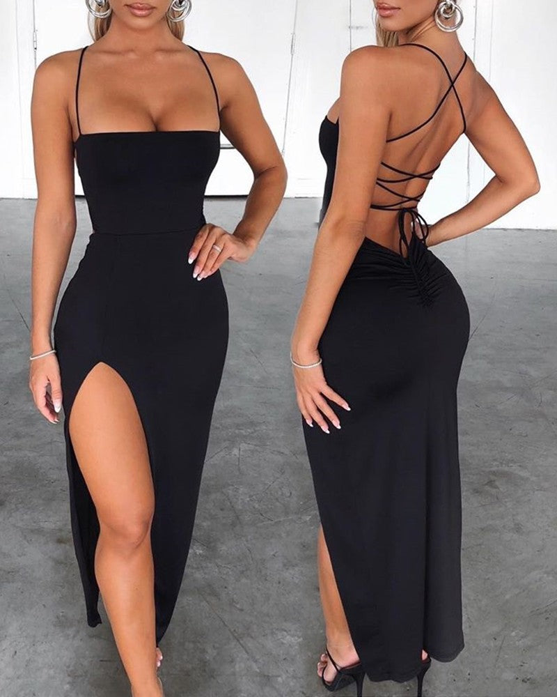 Spaghetti Strap Bandage Sexy Exquisite Slit Dress Party Club Bodycon Sleeveless
