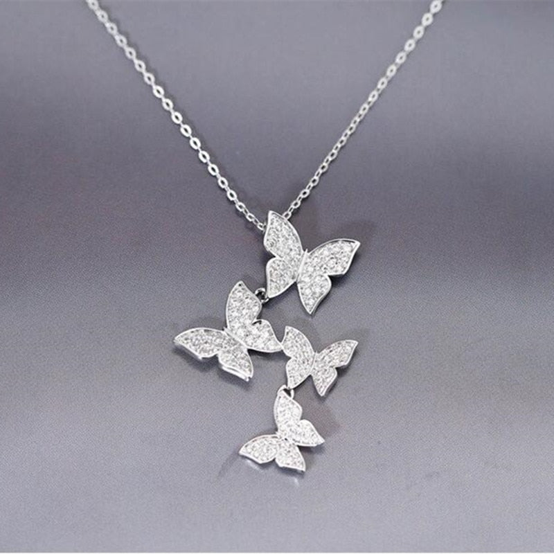 High-Quality 925 Sterling Silver Jewelry Personality Butterfly Crystal Clavicle Chain Pendant Necklace