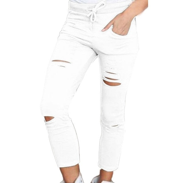 Denim Women Skinny Cut Jeans Pencil High Waist Stretch Trousers Cotton Drawstring Slim Pants