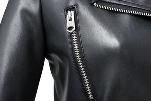 Black Faux Leather Jacket Zipper Basic Coat Turn-down Collar Motor Biker With Belt