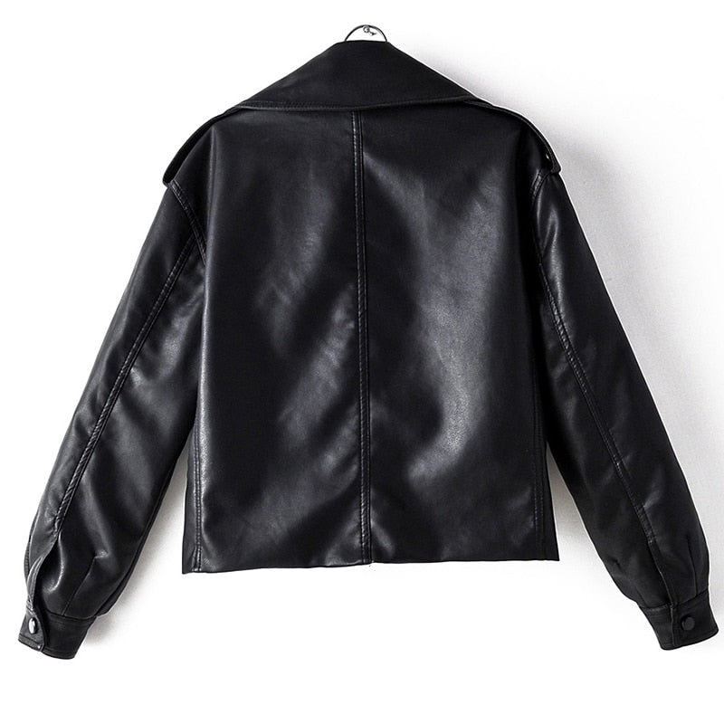 Faux Leather Jacket Pu Motorcycle Biker Turndown Collar Loose Streetwear