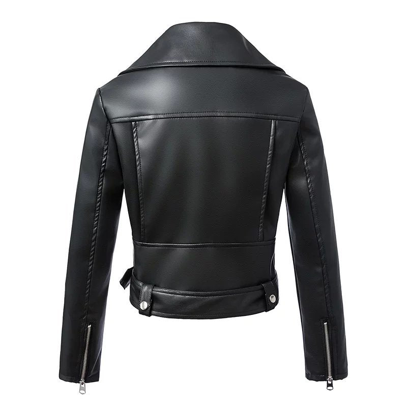 Pu Leather Jacket Woman Zipper Belt Short Coat Female Black Punk Outwear