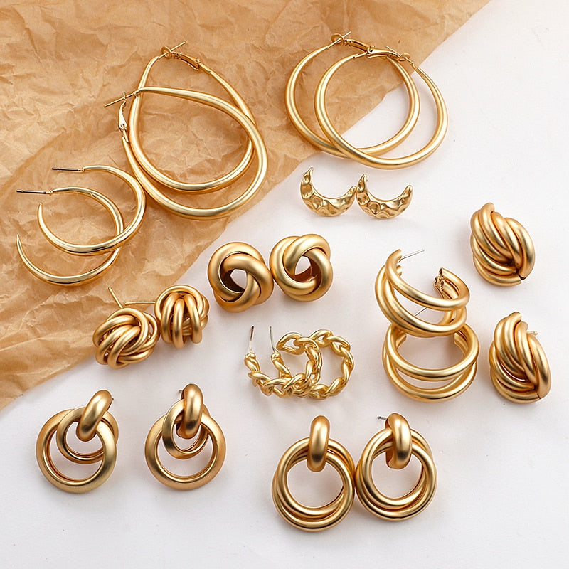 Multiple Trendy Round Gold Geometric Drop Statement Earrings Fashion Jewelry