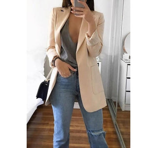 Open Front Vintage Fashion Coat Turn-Down Collar Pockets Slim Fit Casual Jacket