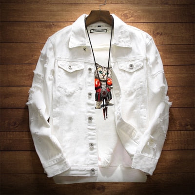 Ripped Denim Jacket Trendy Fashion Hip Hop Streetwear Jeans Coats Men