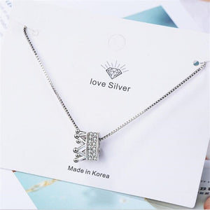 Atmosphere Flash 925 Sterling Silver Jewelry Crown Exquisite Crystal Pendant Necklace