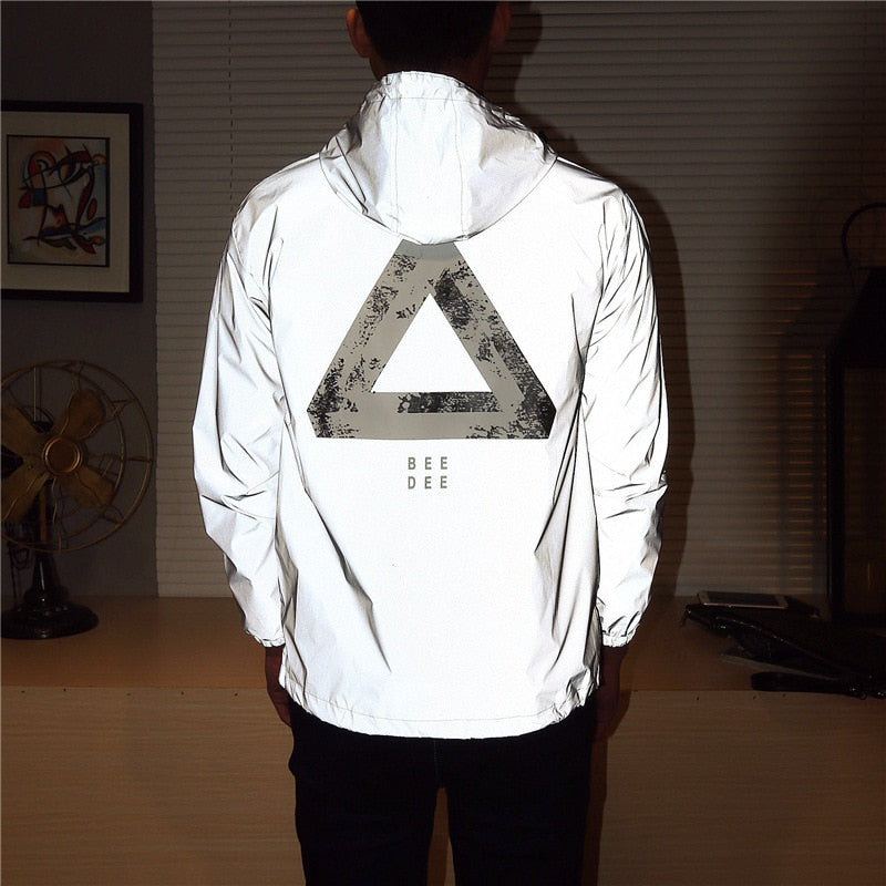 Casual Reflective Hip-Hop Windbreaker Jacket Tide Brand Hooded Fluorescent Coat