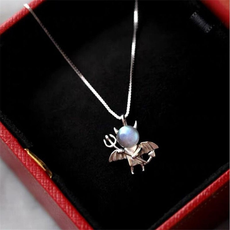 Moonstone Small Devil 925 Sterling Silver Jewelry Crystal Clavicle Chain Necklace