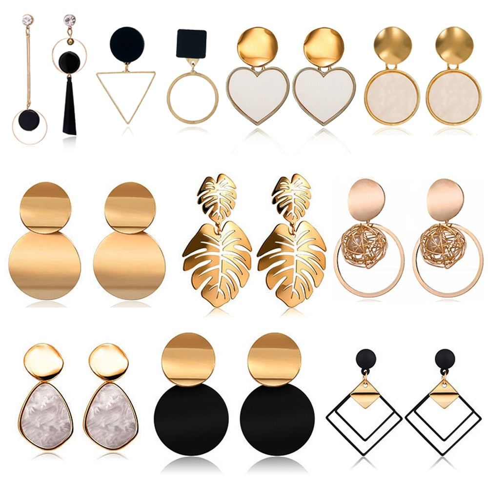 Golden Color Round Ball Geometric Earrings For Party Wedding Gift New Fashion Jewelry