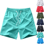 Solid Color Simple Shorts Men Trunks Beach Board Summer Sports Gym Casual Pants