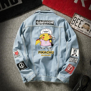 Anime denim jacket men's spring and fall student trendy Pikachu denim men's autumn loose casual jacket