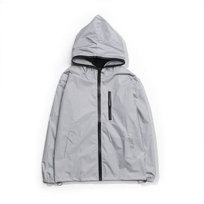 Reflective Windbreaker Waterproof Jacket High Street Hip-Hop Loose Hooded Coat