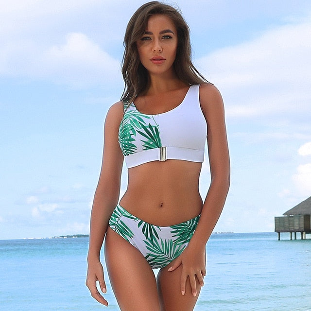 Sexy High Waist Bikini Set Bandeau Push Up Buckle Bathing Suit Beach Wear Swimming