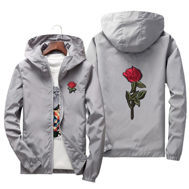 Embroidery Rose Flower Windbreaker Jacket Men Big Size S-7XL Hooded