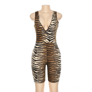 Leopard V Neck Fitness Biker Playsuit Sleeveless Sexy Romper Summer Jumpsuit