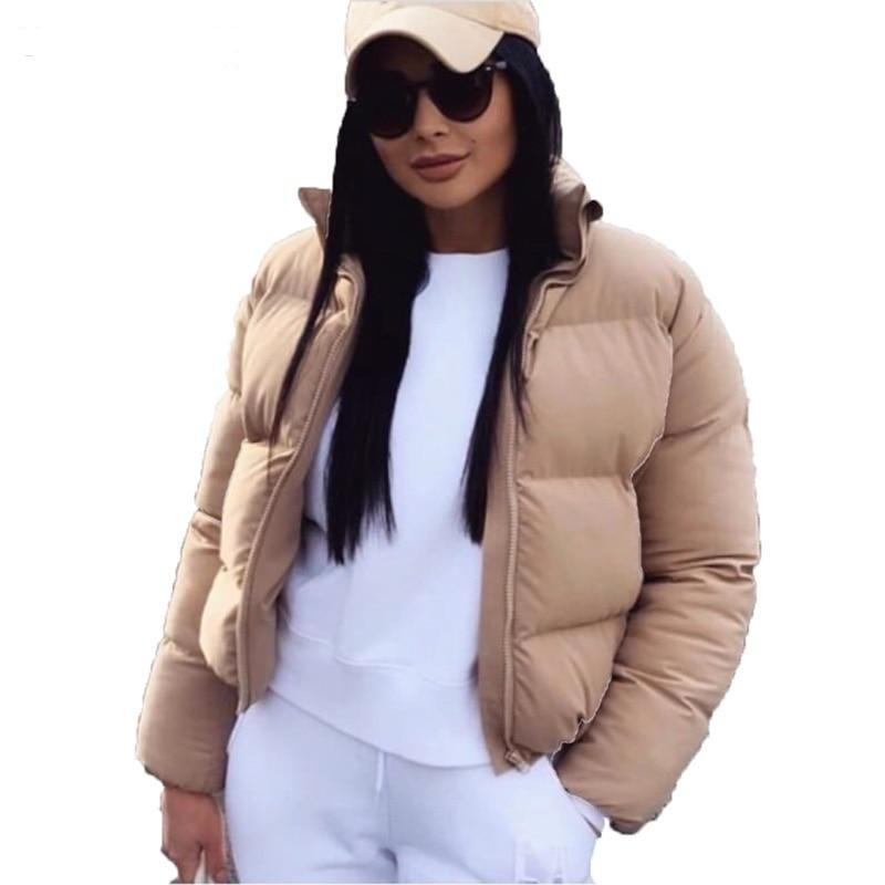 Bubble Coat Solid Standard Collar Oversized Short Jacket Puffer Parkas