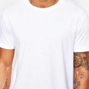 Cotton Long T-Shirt Hip Hop Short Sleeve Casual Men Tee Brand New Clothing