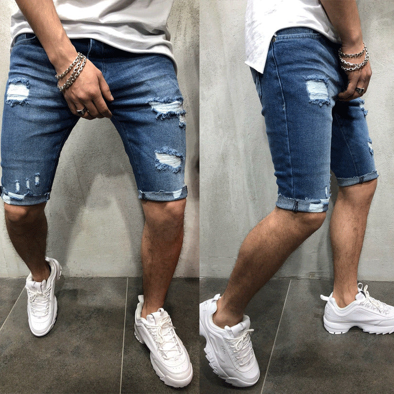 Denim Chino Shorts Super Stretch Skinny Jeans Slim Fit Summer Pants Cargo