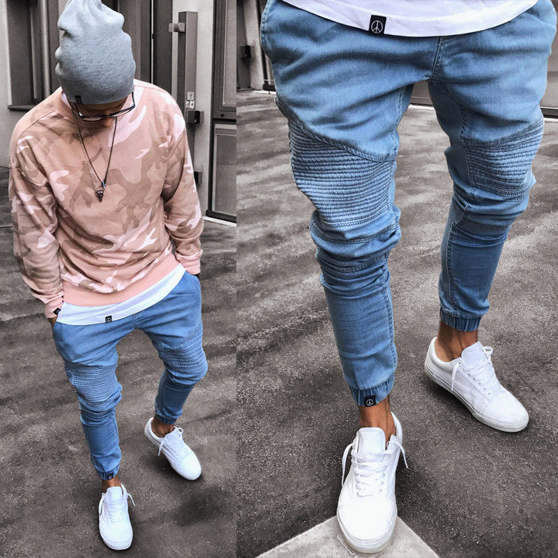 Stretchy Ripped Skinny Biker Jeans Destroyed Slim Fit Denim Pants Mens Elastic Waist Harem Pants Men Jogger Clothes