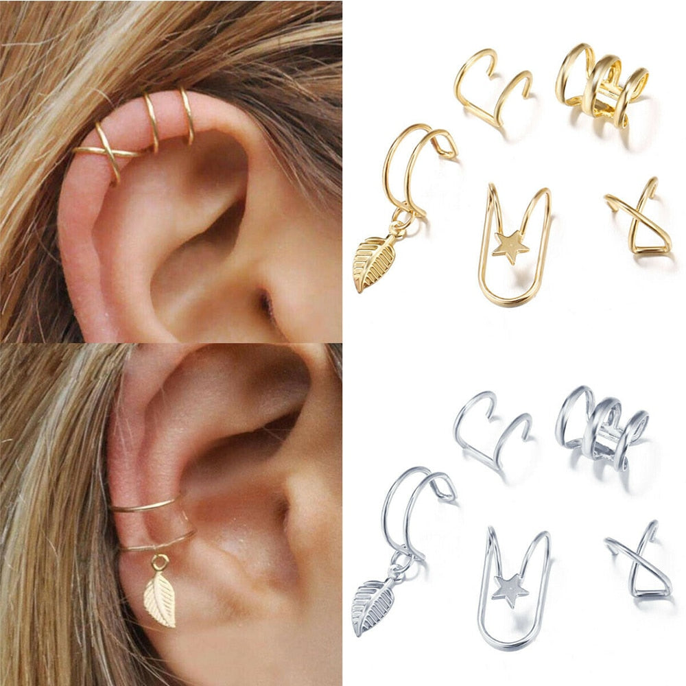 5Pcs/Set Ear Cuff Gold Leaf Non-Piercing Ear Clips Fake Cartilage Earring Jewelry