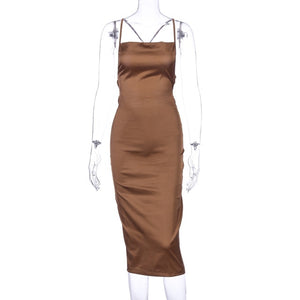 Bodycon Long Dress Satin Sleeveless Backless Elegant Party Outfits Sexy Club