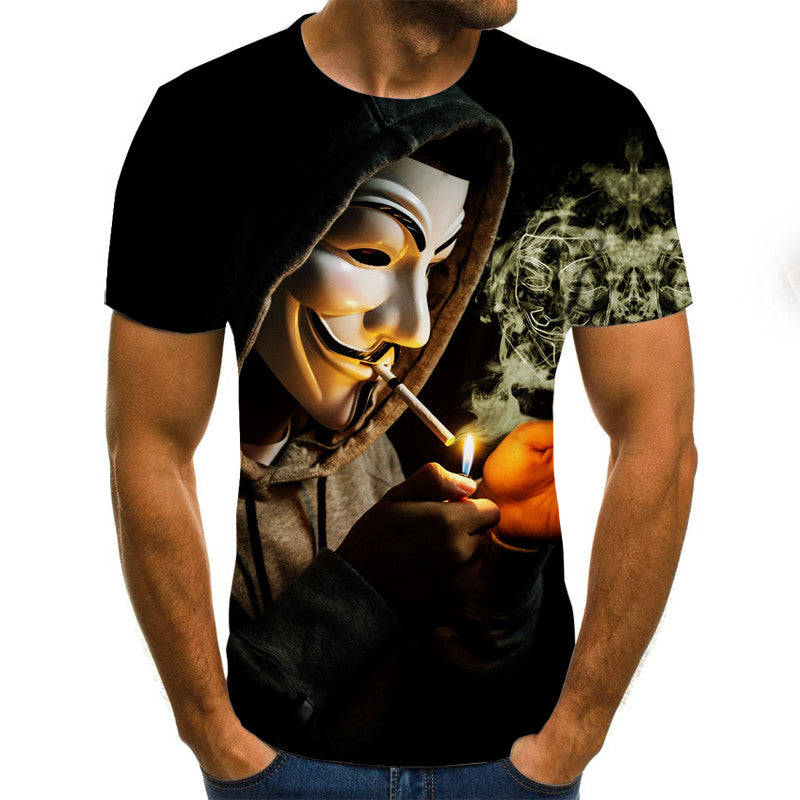Face Masked 3D Print T-Shirt Men Joker Face Short Sleeve Funny Tops & Tees Plus Size S-6XL