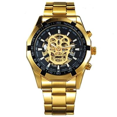 Automatic Mechanical Men Watch Gold Skeleton Vintage Top Brand Luxury