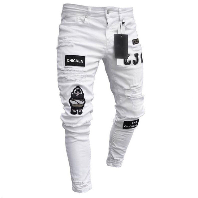 Stretchy Ripped Skinny Embroidery Print Jeans Taped Slim Fit Denim Scratched High Quality