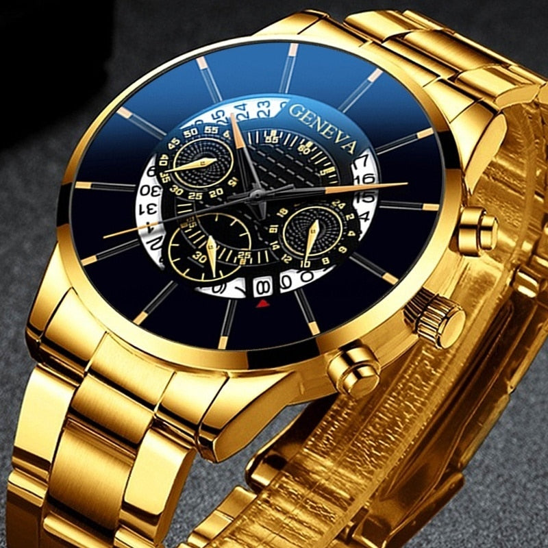 Fashion Mens Quartz Classic Black Wristwatch Steel Belt Luxury Calendar Business Watch